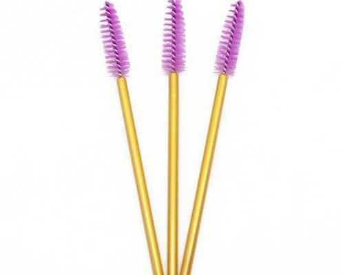 Light purple head yellow rod eyelash brushes